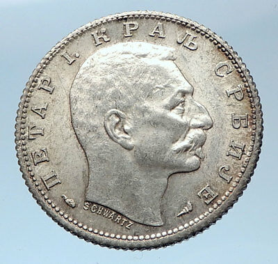 1915 SERBIA with King Peter Petar I Antique Silver 1 Dinar Serbian Coin i73940