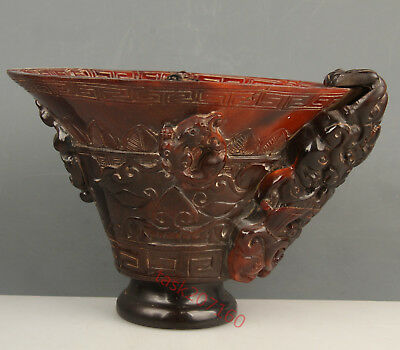Chinese Exquisite Hand carved Mythical dragon carving Ox Horn cup