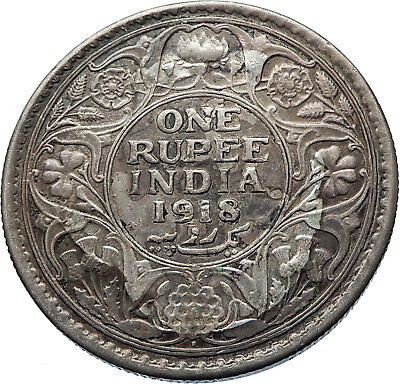 1918 INDIA with UK King George V Silver Antique RUPEE Indian RUPEE Coin i73949