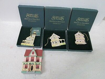 3 Shelia's House Ornaments Cape May Nj The Abbey Ii, The Pink House,white Cottag