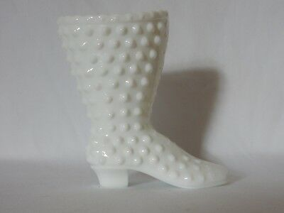 Beautiful Vintage Fenton White Hobnail Milk Glass Laceup Lace Up Boot Shoe Vase