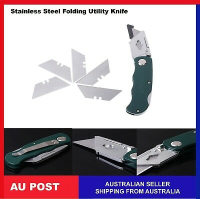 Folding Utility Knife Stainless Steel  Camping Wood working  with Five Blades