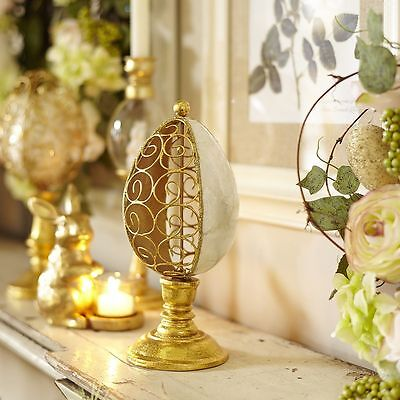 """NEW PIER 1 IMPORTS CAPIZ SIDE SCROLL EASTER EGG FINIAL 9.75""""H x 4.50""""Dia NWT"""
