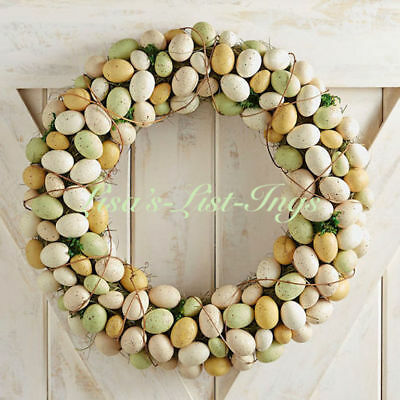 """Nib Pier 1 Imports Green & Natural Easter Egg Wreath 23"""" Floral Spring Nwt New"""