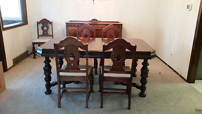 Antique Carved Wood Rectangular Extending Dining Table with Six Chairs