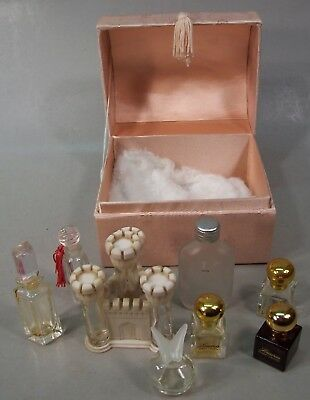 """Small Pink """"Treasure"""" Chest holding 8 Tiny Perfume Bottles"""