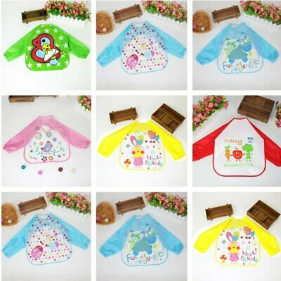 Children Baby Kids Toddler Waterproof Long Sleeve Art Smock Feeding Bib Apron XW