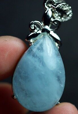 51.4Ct Natural Aquamarine Alloy Inlaid Pendant Polished