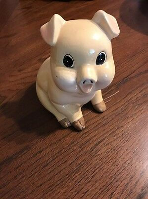 "Piggy pig bank hand painted Retro 6 1/2"" Tall Vintage White Cream"