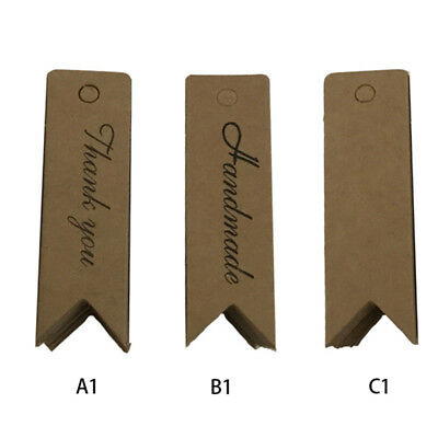 """100 pcs Kraft Paper Hang Tags Wedding Party Favor Label """"thank you"""" Gift Cards"""
