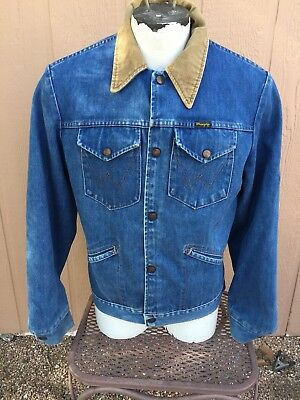 Vintage Wrangler Denim Jacket 42 L ( Blanket Lined / NO FAULT DENIM )