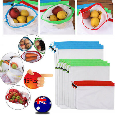 15x Eco Friendly Reusable Mesh Produce Bags Superior Double Stitched Strength