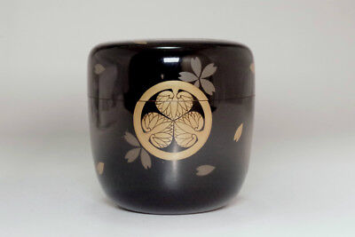 Vintage 'kamon natsume' japanese lacquered tea caddy #3191