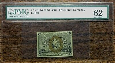 Fractional Currency 5 Cents Pmg 62 Choice Uncirculated Fr# 1232 Certified