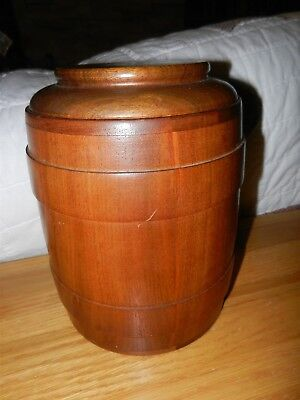Vtg Decatur Industries USA Wood Tobacco Humidor Barrel Shaped Cork Lined