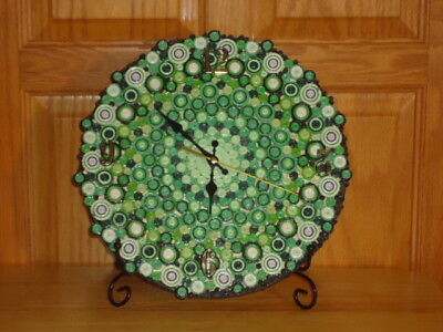 """CiRCLES of TiME"" SHELF MANTLE CLOCK Handmade BATTERY 10"" PAPER QUILLING Greens"