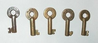 5 Brass Obsolete Keys