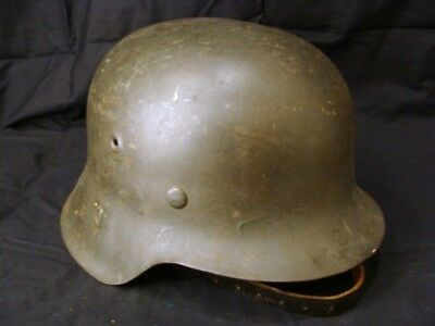 German Ww2 M42 Wh Helmet, Shell Size 66 With Original Untouched Leather Liner