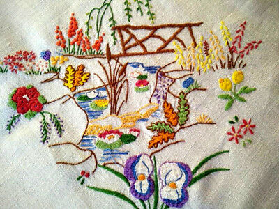 Gorgeous Water Lily Pond ~Bridge/Iris/Reeds ~Vintage Hand embroidered Tablecloth