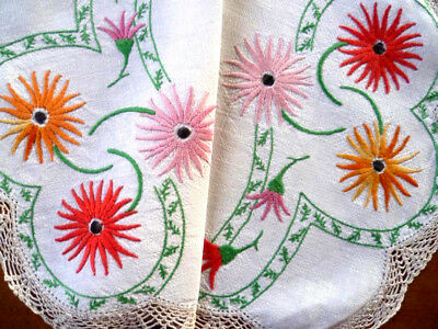 Beautiful Coloured Gerberas ~ Vintage Hand Embroidered Centrepiece/mat