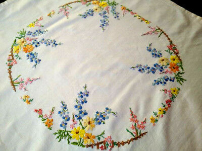 Gorgeous Cottage Garden ~ Vintage Hand Embroidered Tablecloth