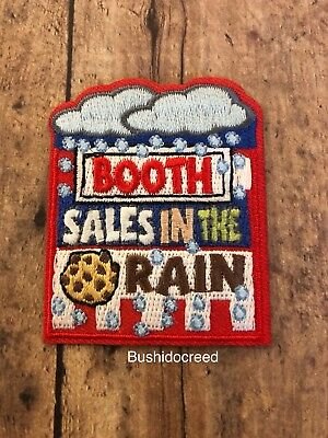 NEW Girl Scouts Booth Sales In The Rain Cookies GS Fun Patch Collectible Iron On
