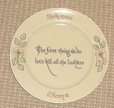"""Folger Library Plate - """"Let's Kill All the Lawyers"""" - William Shakespeare"""