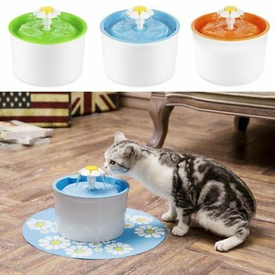 Automatic Cat Dog Water Drinking Flower Fountain Pet Bowl Drink Dish Filter New