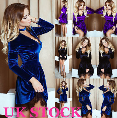 UK Womens Choker V Neck Velvet Lace Lady Evening Party Cocktail Mini Short Dress