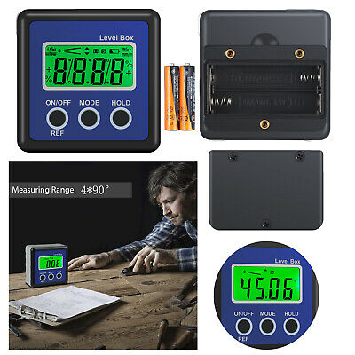 4*90° Magnetic Digital LCD Angle Finder Gauge Level Box Inclinometer Protractor