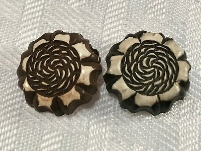 "T705 VTG CELLULOID Button BUFFED 3/4"" White Brown Black Flowers Shank Lot of 2"