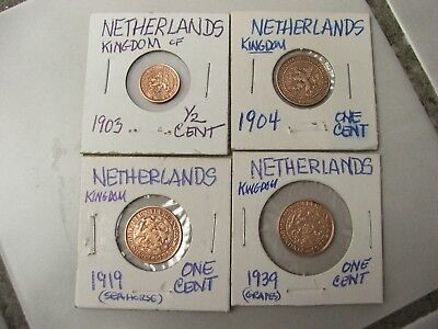 4 Kingdom Netherlands 1903,04,19,39 /1/2 Cent & three 1 cent coins- Crowned Lion