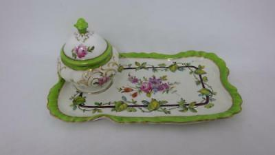 19th Century Exquisite Dresden Ink Pot & Pen Tray - Hand Painted Dated DEC 1880