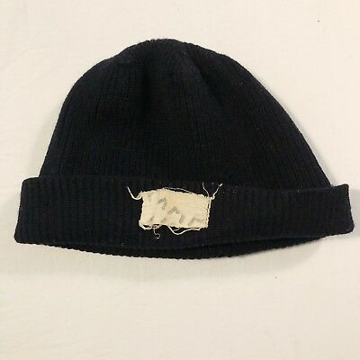 1940s WW2 Knit Watch Cap USN Name Rate Stencil Black Wool Vintage US Army c1ef3f85e0ad