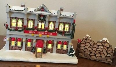 Coca Cola Holiday Village Silent Night Hotel with Wood Pile.  No Box