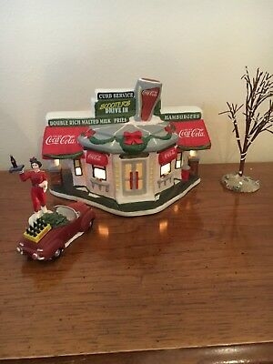 Coca-Cola Christmas Town Square Collection Lighted Scooters Drive Inn W/ Car Hop