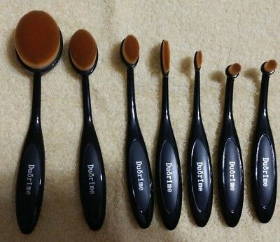New Duorime 7pcs Black Oval Toothbrush Makeup Brush