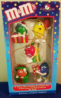 M&m's Ornaments Kurt Adler Christmas Holiday Boxed Set 5  Mint