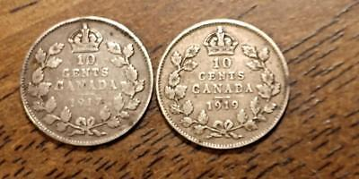 Canadian 1917 & 1919 10 Cents - Both Silver -  Free U.S. S/H