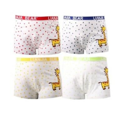 4 Pcs Set Boy Boxer Brief Underwear Cotton Cartoon Giraffe Children Kids Pantie