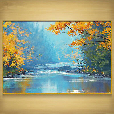 YA882 Modern 100% Hand-painted Landscape oil painting on canvas Mountain stream