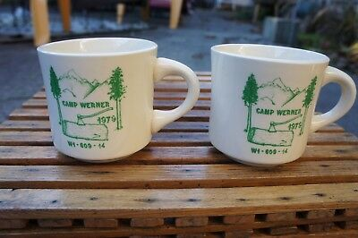 Pair vintage 1979 Boy Scouts of America BSA mug Camp Werner Washington State W1