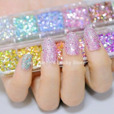 12 Colors Glitter Nail Art Decoration Powder Sequins Decals Nail Accessories New