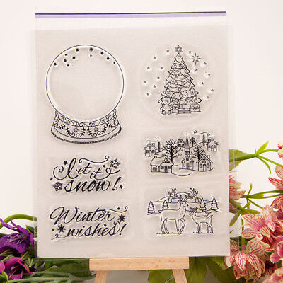 Christmas Crystal ball transparent Silicone Clear Stamp Scrapbook Album Decor PR