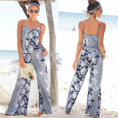 Plus Size Boho Women Floral Holiday Long Playsuits Casual Trousers Jumpsuit 6-18