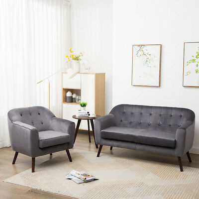 Phenomenal Luxe Grey Velvet Accent Chair 2 Seater Sofa Couch Set For Andrewgaddart Wooden Chair Designs For Living Room Andrewgaddartcom
