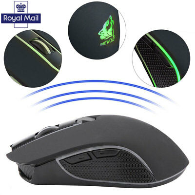 For Pro Gamer 6 Buttons X9 PC Gaming Mouse 1800DPI Optical Wireless with RGB LED