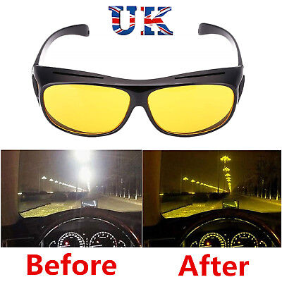 Unisex Night Vision Driving Wrap Around Over Glasses Anti Glare Safety Sunglass