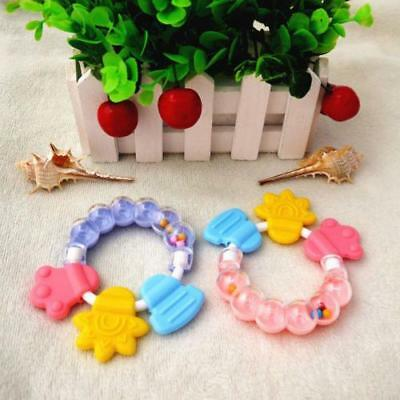 Healthy Baby Kids Rattles Biting Teething Teether Balls Toys Circle Ring Toy OVX
