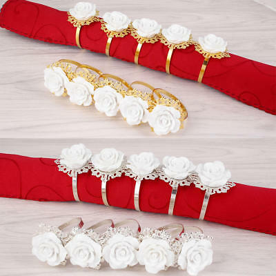 White Resin Rose Napkin Ring For Wedding Table Decoration Rose Gold Plating 1pc
